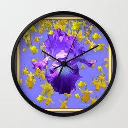 Purple Iris Yellow Daffodils  Lilac Abstract Wall Clock