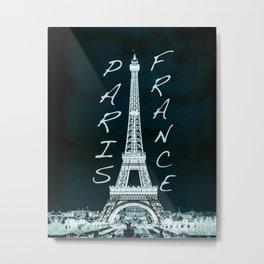 La Tour Eiffel - The Eiffel tower inverse with text Metal Print