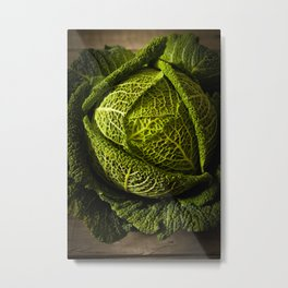 picture for the kitchen, green cabbage from the garden  Metal Print