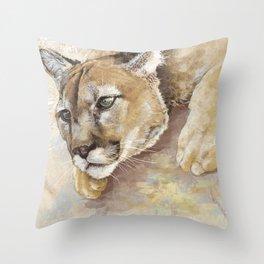 Captivated Mountain Lion Throw Pillow