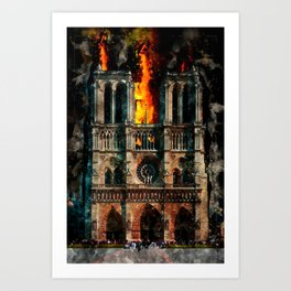 Notre Dame Cathedral on fire Art Print