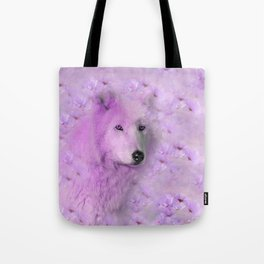 PURPLE WOLF FLOWER SPARKLE Tote Bag