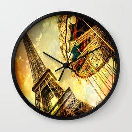 pariS. : Eiffel Tower & Ferris Wheel Wall Clock