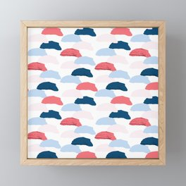 Abstract blush pink blue geometrical brushstrokes Framed Mini Art Print