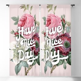 Have a nice day - retro roses Blackout Curtain