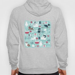 Veterinary medicine, happy and healthy friends // aqua background Hoody