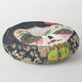 Frida The Catrina And The Devil - Dia De Los Muertos Mixed Media Art Floor Pillow
