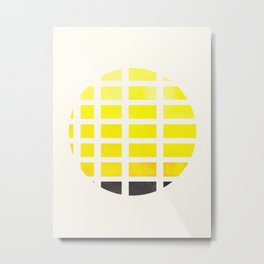 Watercolor Colorful Yellow Minimalist Mid Century Modern Square Matrix Geometric Pattern Round Circl Metal Print