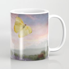 Lavender, Pink Sunset, and Yellow Butterfly Coffee Mug