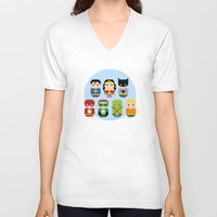 justice league V-neck T-shirts featuring Pixel Art - Justice League of America parody by Cloudsfactory