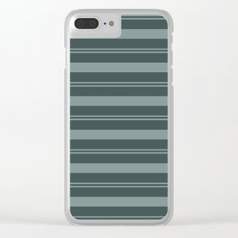 Scarborough Green PPG1145-5 Thick and Thin Horizontal Stripes on Night Watch PPG1145-7 Clear iPhone Case
