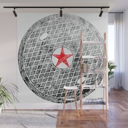 Red Star Manhole Cover Ink Print From Beijing Wall Mural