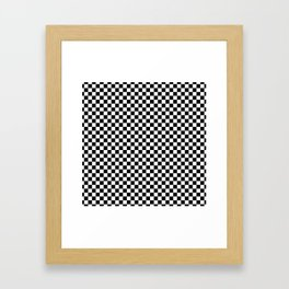 Classic Black and White Checkerboard Repeating Pattern Framed Art Print