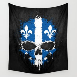 Flag of Quebec on a Chaotic Splatter Skull Wall Tapestry