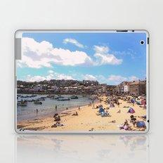 British Beach scene illustration, St Ives, English holiday resort Laptop & iPad Skin