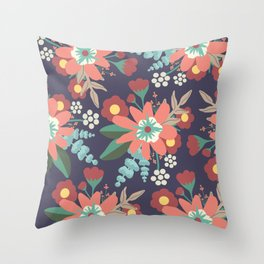 Navy Coral Floral Throw Pillow
