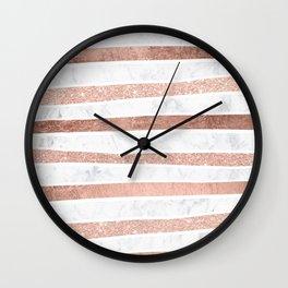 Modern faux rose gold glitter foil marble stripes pattern Wall Clock