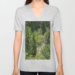 Watercolor Tree, Side, Conifer Forest 01, Mixed Conifers Abound Unisex V-Neck