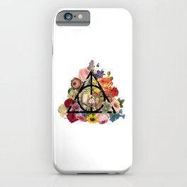 Floral Deathly Hallows Owl and Stag - Black iPhone Case