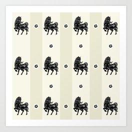 Horse Paper Cut Art Print