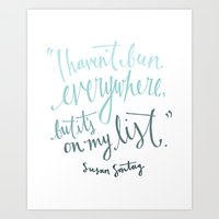 Wanderlust Susan Sontag Quote Art Print