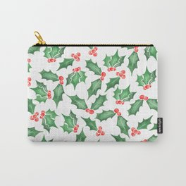 Snowy Watercolor Holly Carry-All Pouch