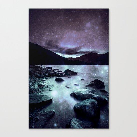 Magical Mountain Lake Aqua Lavender Canvas Print