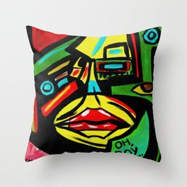 """""""Rosy Cheeks"""" Abstract Portrait Painting Throw Pillow"""