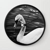 black swan Wall Clocks featuring Swan by Ana Pontes