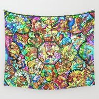 simba Wall Tapestries featuring Mickey Mouse and Friends - Stained Glass Window Collage by DisPrints