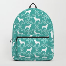 Boykin Spaniel silhouette floral dog breed pet pattern silhouettes of dogs blue Backpack