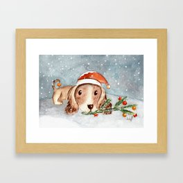 Christmas Puppy Look Framed Art Print