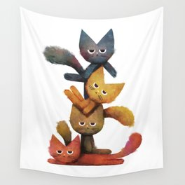 Lazy Cat Stack Wall Tapestry