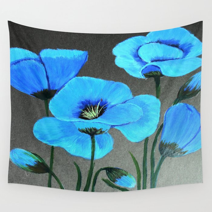 Blue poppies  Wall Tapestry