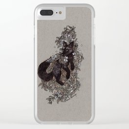 Black Fox and Star Flower Jasmine Tangle Clear iPhone Case