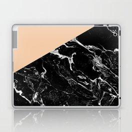 Modern elegant peach black marble color block Laptop & iPad Skin