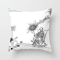 tesla Throw Pillows featuring Tesla by Dan Ashwood