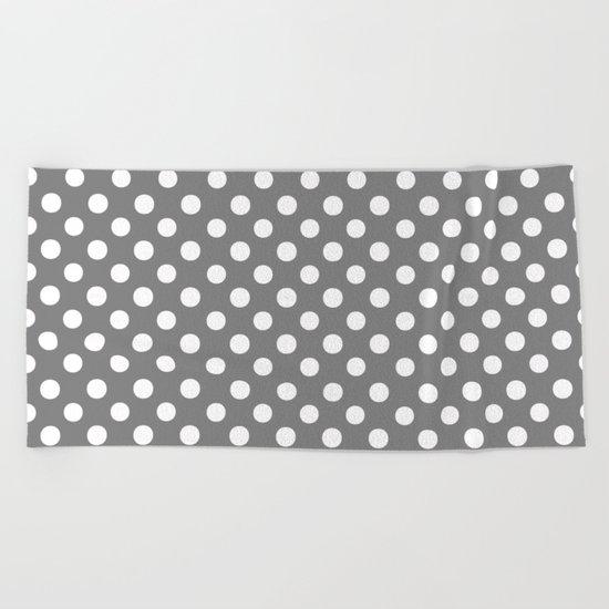 Polka Dots (White/Gray) Beach Towel