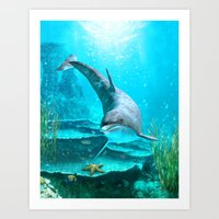 dolphin Art Prints featuring Dolphin by Simone Gatterwe