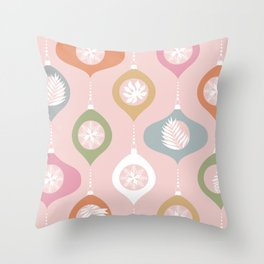 Retro Christmas Baubles Pattern on Pastel Pink Throw Pillow
