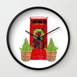 Red Christmas Door with Boxwood Wreath Wall Clock