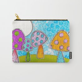 Mushroom Mixed Media Painting in Dyan Reaveley Style with Bright and Vibrant Colors Carry-All Pouch