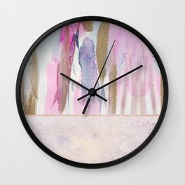 Rose Blush, Dreamy Pink And Blue Modern Abstract Art Wall Clock