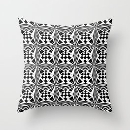 black and white symetric patterns 19- bw, mandala,geometric,rosace,harmony,star,symmetry Throw Pillow