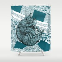 hobbes Shower Curtains featuring Blue Hobbes by Maritsa Patrinos