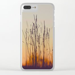 Ambient Colorful Red Orange Sunset With Wheat Silhouette Clear iPhone Case