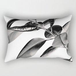 Ficus Elastica Black Gray White Vibes #1 #foliage #decor #art #society6 Rectangular Pillow