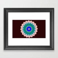 Lovely Healing Mandala  in Brilliant Colors: Brown, Pink, Sunset Orange, Teal, Cream, and Royal Blue Framed Art Print