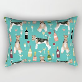 Wire Fox Terrier wine dog pattern dog lover gifts for dog person dog breeds pet friendly Rectangular Pillow