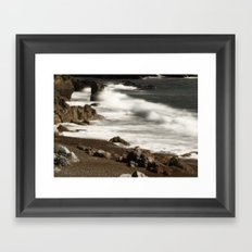 Ocean Waves and Rocks Framed Art Print